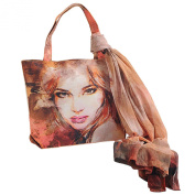 Dupion Tote Faux Silk Bag And Chiffon Scarf Fashion Accessory For Women Digital Print