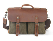 Bronze Times (TM)Canvas PU Leather Briefcase Crossbody Bag Messenger Bag