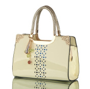 Molhome Patent Leather with Handbags Hand Hollow for Shoulder Messenger and Commuter Bag in Cream-coloured