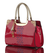 Molhome Patent Leather with Handbags Hand Hollow for Shoulder Messenger and Commuter Bag in Rose red