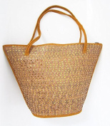 Woven rattan beach bag, shoulder bag Sequined 34 cm high, 49 cm wide, lined