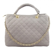 CHIC Hobos Bags Handbag Shoulder Genuine Leather Made in Italy-Grey
