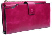 BIG SALE-60% OFF-Yaluxe Women's Large Capacity Luxury Wax Genuine Leather Wallet Purse With Zipper Pocket