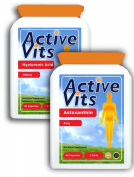 ActiveVits Hyaluronic Acid 100mg 60 Capsules and Astaxanthin 4mg 60 Capsules Combo Anti-Ageing and Nervous System Support