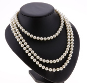 Ardisle False Freshwater Pearl white drop pearl necklace Beaded 150cm Long Chain Rope Bead