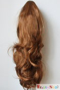 60cm Hair Piece Pony Tail Extension (BLONDE COPPER) Very Long & Voluminous curled wavy Heat-Resisting