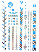 METALLIC TEMPORARY FLASH TATTOOS SILVER TURQUOISE BODY ART 6 DESIGNS [24]