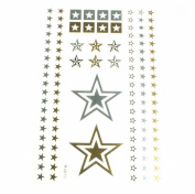 Metallic Tattoos Gold Silver Temporary Tattoo Paper Sheet Pack Bracelets Stars