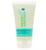 Boots Tea Tree and Witch Hazel Exfoliating Face Scrub 150ml - Unclogs Pores & Helps Skin Look Smooth & Even