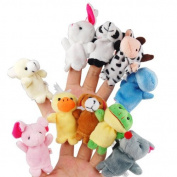 Foxnovo 10pcs Different Cartoon Animal Finger Puppets Soft Velvet Dolls Props Toys