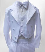 BOYS WHITE TUXEDO TAIL SUIT 5 PIECES BABY BOYS CHRISTENING BAPTISM OUTFIT