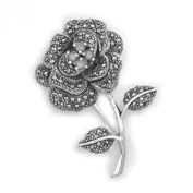 Blossoming Rose Flower Marcasite Brooch With White Cubic Zirconia (CZ) Stones Centre - 925 Sterling Silver - Vintage Style Brooch Pin / Clip - Brooch Jewellery - Supplied in Free Gift Box