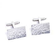10 Year Anniversary Traditional Gift Beaten Rectangle Tin Cufflinks