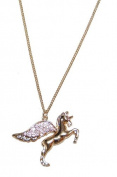 Crystal Studded Flying Unicorn Necklace in Gold Tone (Supplied in a Gift Pouch) Unique Jewellery