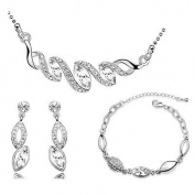 Silver White Bridal Teardrop Jewellery Set Drop Earrings Necklace Bracelet S498