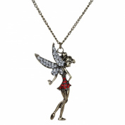 Yazilind Red Clear Crystal Dancing Fairy Angel Tinkerbell Pendant Bronze Necklace Womens Jewellery