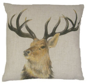 FILLED EVANS LICHFIELD STAG REVERSIBLE LINEN MADE IN THE UK CUSHION 43 X 43CM