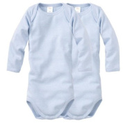 Wellyou Long-Sleeved, Light Blue-White Pinstriped Baby Bodysuit, Set Of 2