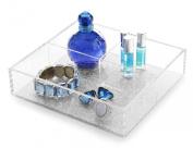 BINO 3-Section Acrylic Tray, Woven Silver