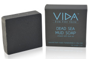 Artisan Dead Sea Mud Soap with Olive Oil By Vida For The Skin | Purifies, Moisturises, Cleanses, 100% Natural | One 160ml Bar