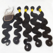 LANOVA 5Pcs/Lot Brazilian Virgin Hair Body Wave Unprocessed Human Hair 4 Bundles With 1Pc Lace Closure Virgin Brazilian Wave Hair Weave