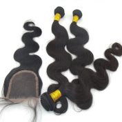"LANOVA 100% Virgin Brazilian Weave for Body Wave 3pcs 10""-28"" and Virgin Brazilian Wavy Hair Closure (4*4) Natural Colour"