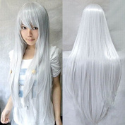 "Anogol® Vocaloid 32"" 80cm Long Straight Wigs Lolita Grey Cosplay Wig Kanekalon Costume Silver Party Wig Halloween"