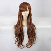 Women's Long Wavy Brown Heat Resistant Synthetic Hair Lolita Fashion Wig LOW12 Free Size