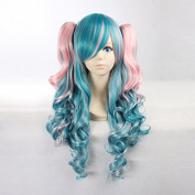 Women's Long Curly Light Pink / Nile Blue Ombre Heat Resistant Synthetic Hair Lolita Fashion Wig LOW15 Free Size