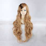 Women's Long Wavy Milk Brown Colour Heat Resistant Synthetic Hair Lolita Fashion Wig LOW03 Free Size