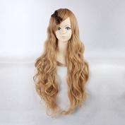 Women's Long Wavy Milk Brown Colour Heat Resistant Synthetic Hair Lolita Fashion Wig LOW03 Free Size