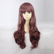 Women's Long Natural Wave Maroon Heat Resistant Synthetic Hair Lolita Fashion Wig LOW07 Free Size
