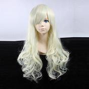 Women's Long Wavy Light Blonde Heat Resistant Synthetic Hair Lolita Fashion Wig LOW10 Free Size