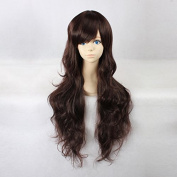 Women's Long Wave Dark Brown Heat Resistant Synthetic Hair Lolita Fashion Wig LOW11 Free Size