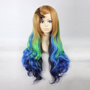 Women's Long Wavy Brown / Neon Green / Blue / Dark Blue Ombre Heat Resistant Synthetic Hair Lolita Fashion Wig LOW08 Free Size