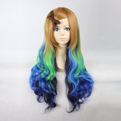 Women's Long Wavy Brown / Neon Green / Blue / Dark Blue Ombre Heat Resistant Synthetic Hair Lolita Fashion Wig LOW08 Free Size