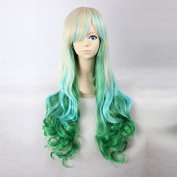 Women's Long Wavy Blonde / Baby Blue / Green Ombre Heat Resistant Synthetic Hair Lolita Fashion Wig LOW06 Free Size