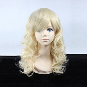 Women's Medium Length Curly Light Blonde Heat Resistant Synthetic Hair Lolita Fashion Wig LOW13 Free Size
