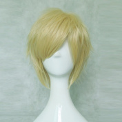 HITMAN REBORN! Dino Light Golden Short Cosplay Costume Wig + Free Wig Cap