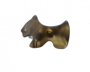 French Amie Scottish Puppy Small 5.1cm Pearl Brown Celluloid Handmade Automatic Hair Clip Hair Barrette - Long Lasting