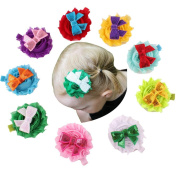 ChicStar 9 Pcs Baby Girl's Shabby Flower Sequine Bows Hair Clips Small Clips Hairpins Barrettes