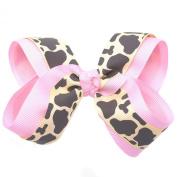 Girls Pink Spotted Pattern Grosgrain Bow Alligator Clippie