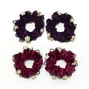 2 Pairs Purple and Red Velvet with Flowers Elastic Hair Tie Band Ponytail Holder, Hair Accessories, Hair Rubber Bands