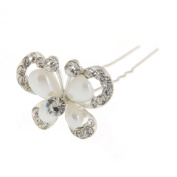 Imixlot Pack Of 12 White Crystal Flower Shape Hair Pins Wedding Bridal Prom Clips