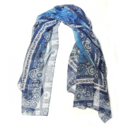 Wrapables® 100% Mulberry Silk Floral Painting Square Scarf, Blue Rose