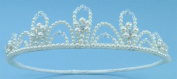 Charming Girl Crown of Lustrous Pearls Accented with Crystal Beads for Communion, Flower Girl, Mini-Bride and Other Special Occasions #854C0iv
