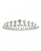 NYfashion101 Rhinestone Studded Floral Designed Crown Tiara NHTY3320SCLY