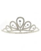 NYfashion101 Rhinestone Studded Inverted Teardrop Crown Tiara NHTY3312SY