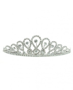 NYfashion101 Rhinestone Studded Inverted Teardrop Crown Tiara NHTY3321SCLY