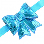 So Beauty 1 pc Colourful Baby Kids Hair Sequins Bowknot Band Light Blue